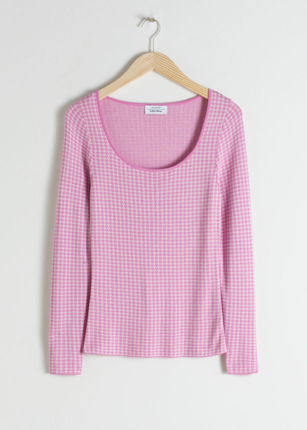Scoop Neck Houndstooth Top