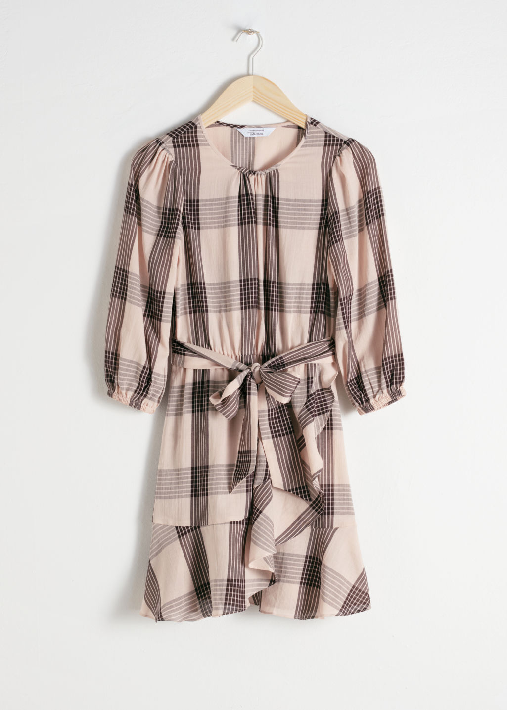 Front image of Stories belted plaid mini dress in beige