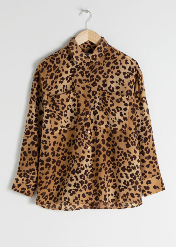 Oversized Leopard Silk Shirt