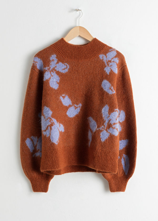 Mock Neck Floral Sweater