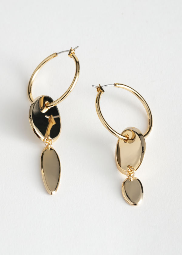 Duo Pendant Hoop Earrings