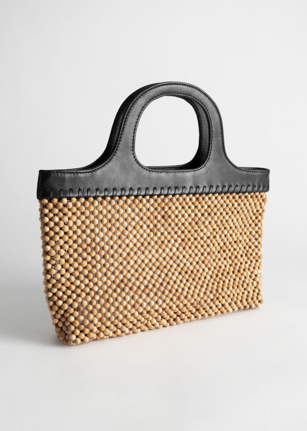 Wooden Beaded Tote Bag