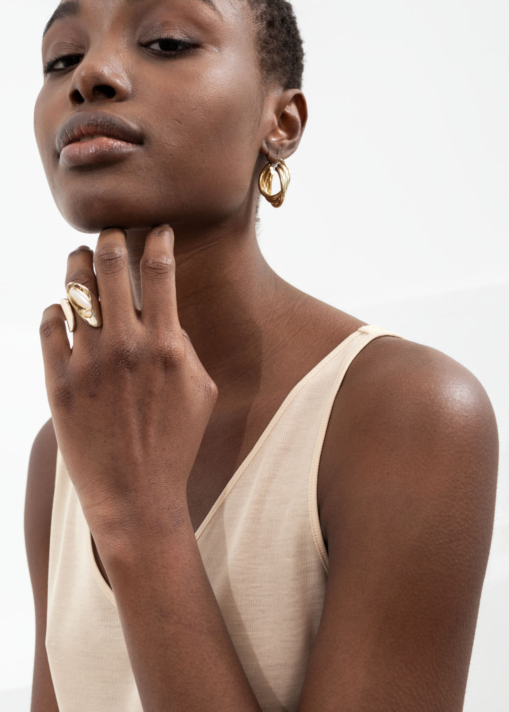 Back image of Stories open duo stone ring in white