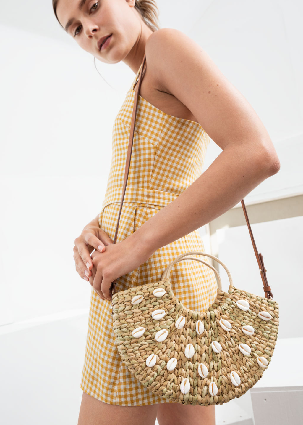 Back image of Stories woven puka shell tote bag in beige