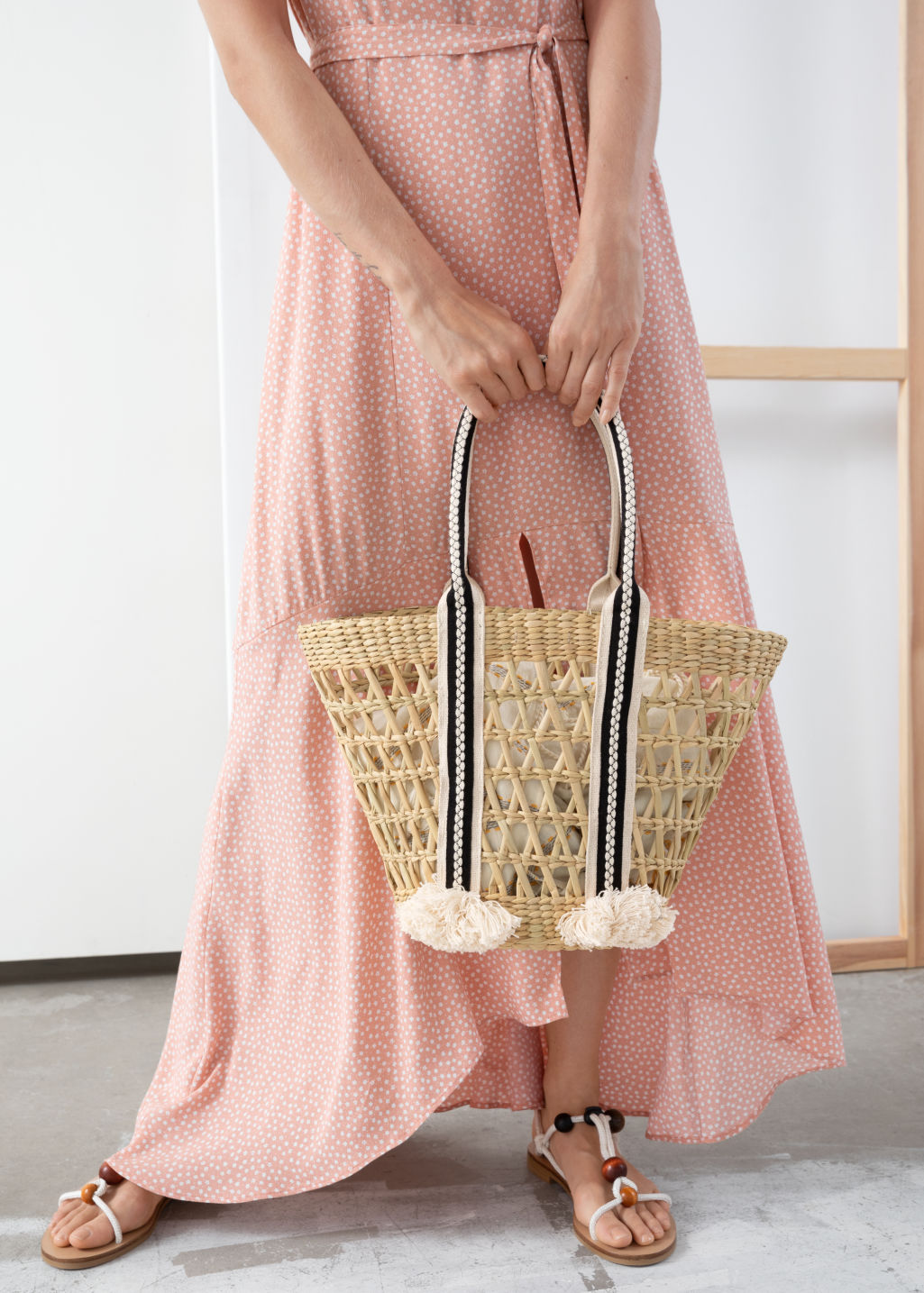 Back image of Stories woven straw bucket bag in beige