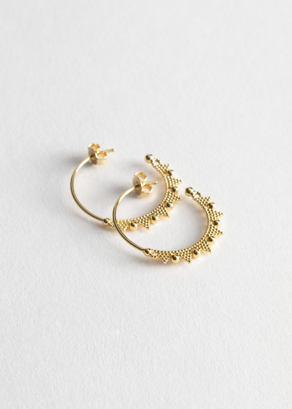 Bead Stud Hoop Earrings