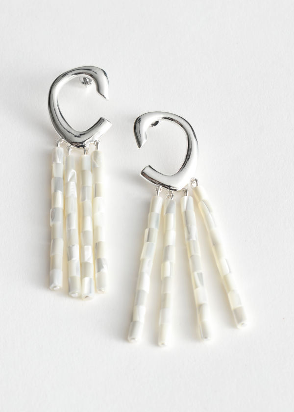 Shell Fringe Pendant Earrings