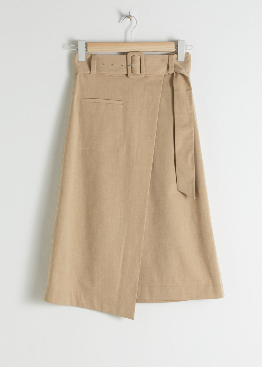 Front image of Stories belted asymmetric midi skirt in beige