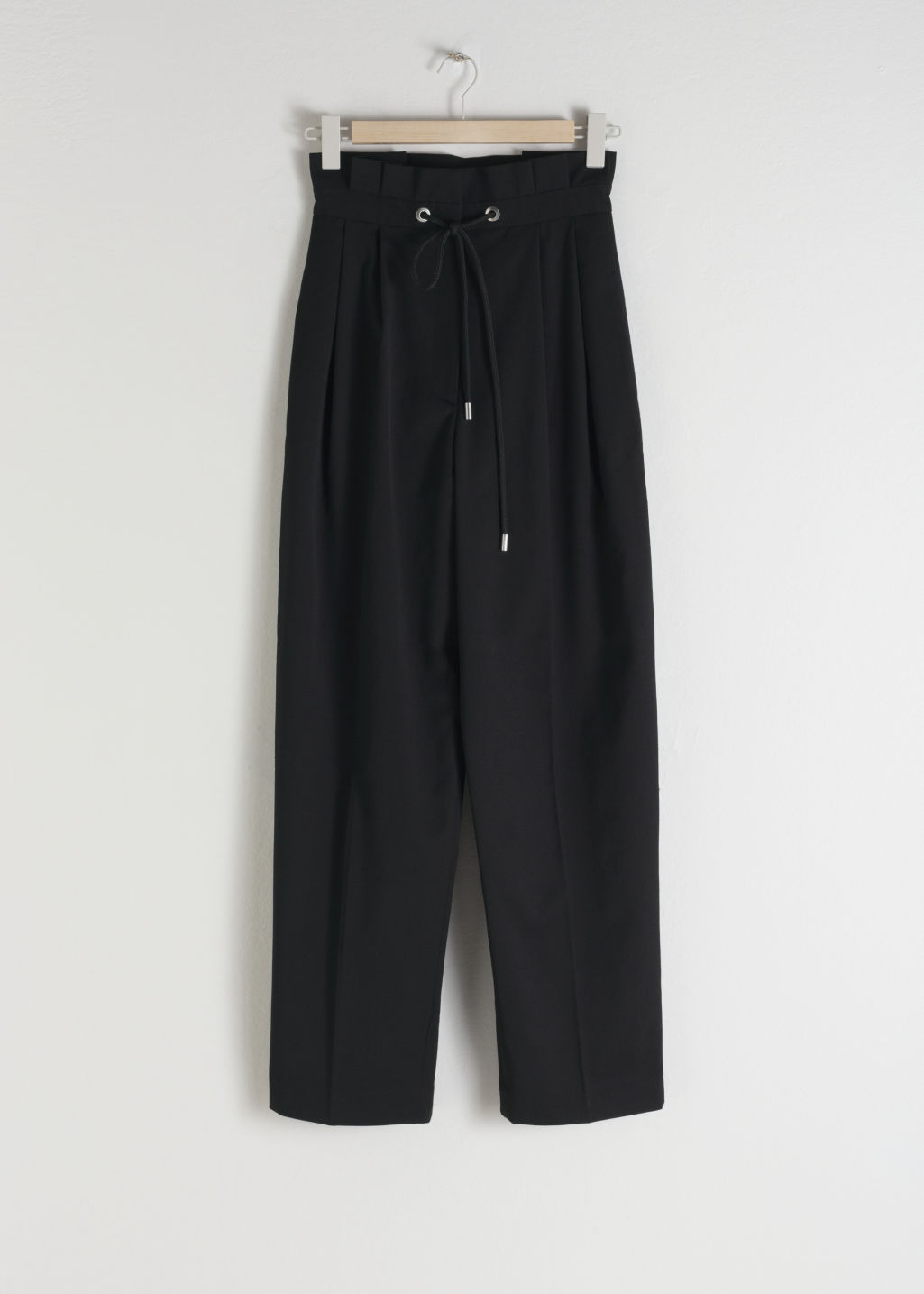 Front image of Stories straight paperbag waist trousers in black