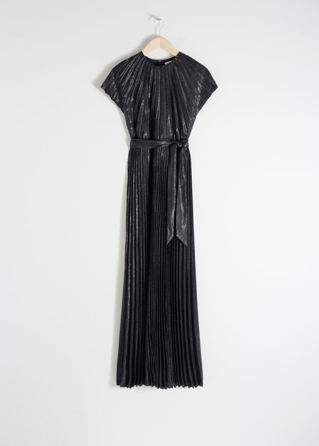 Front image of Stories metallic pleated maxi dress in black