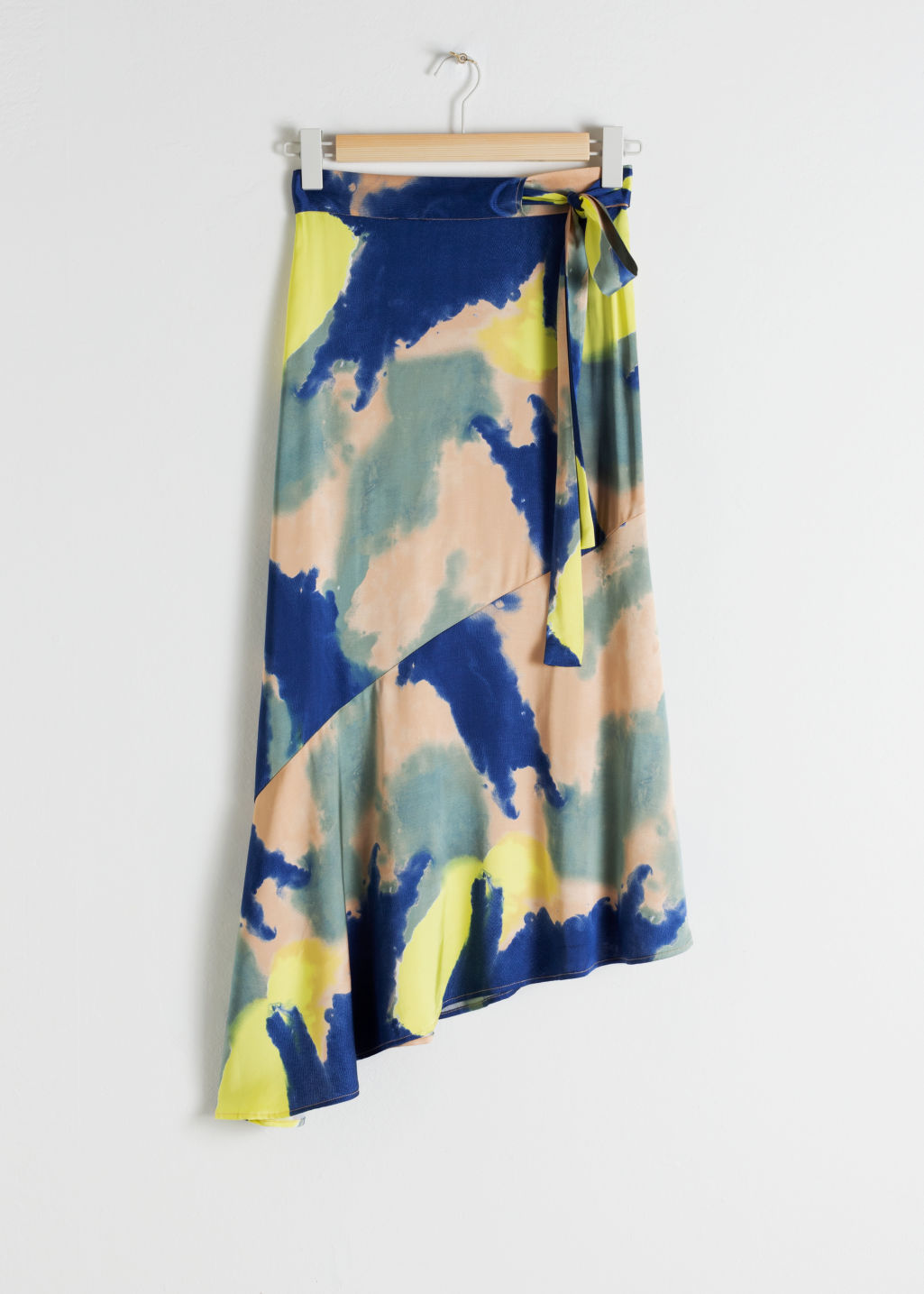 Front image of Stories asymmetric satin midi skirt in blue
