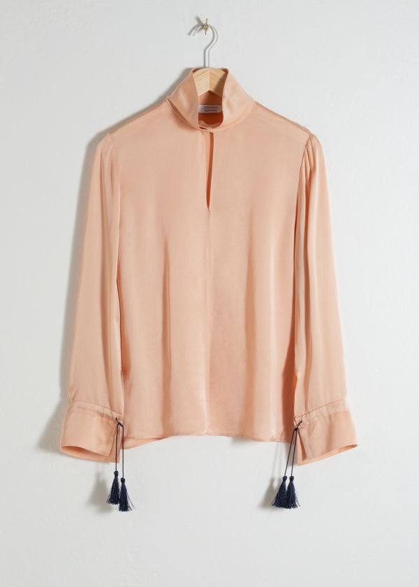 Front image of Stories satin turtleneck blouse in beige
