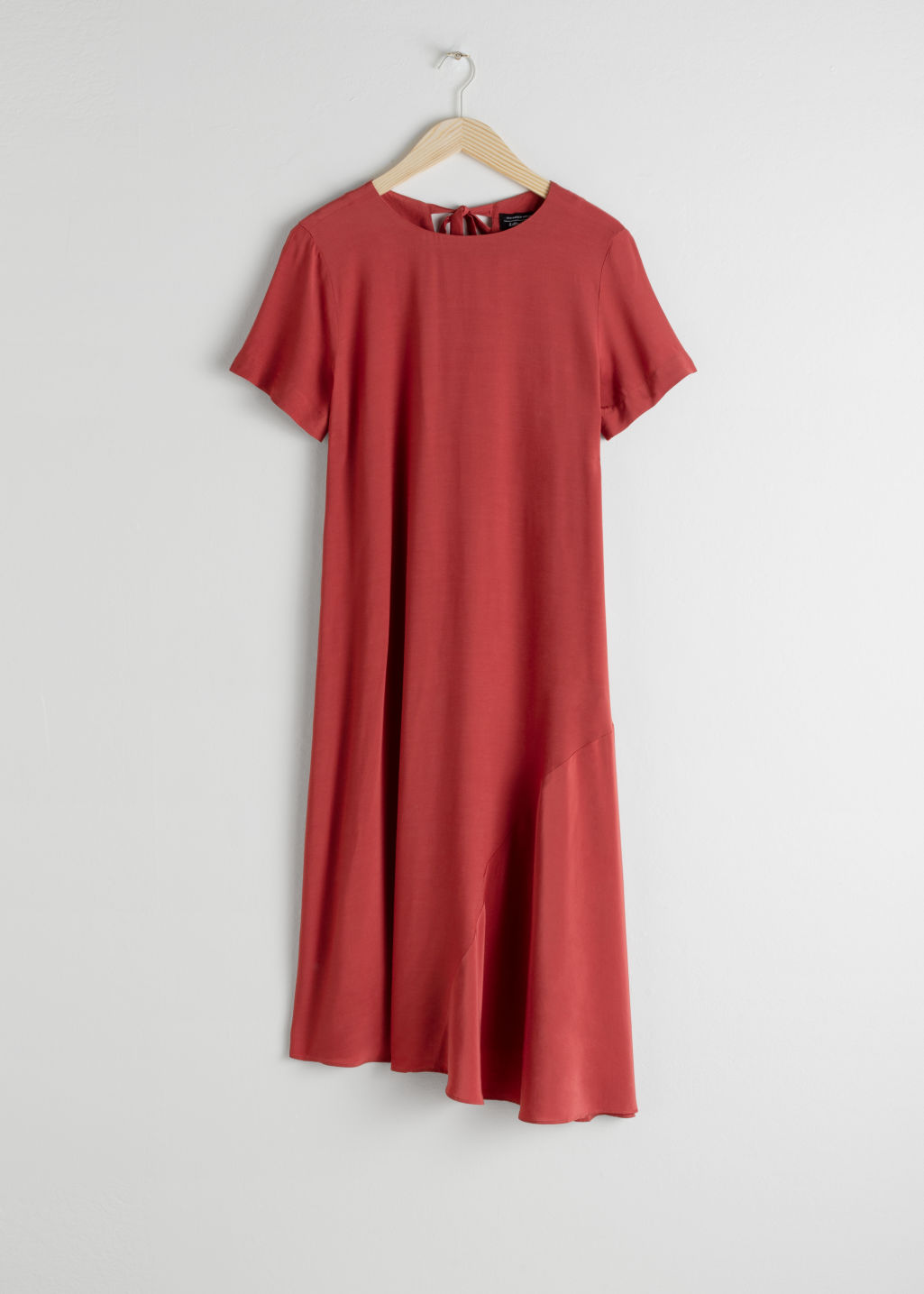 Front image of Stories asymmetrical shirt dress in orange