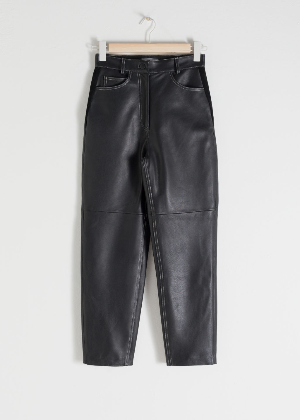StillLife Front Image of Stories High Waisted Tapered Leather Trousers in Black