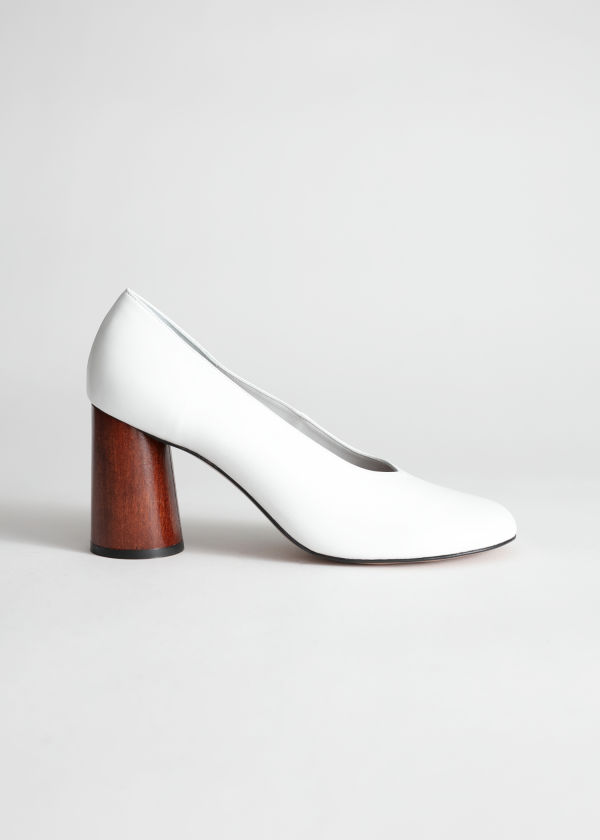 Leather Wooden Heel Pumps