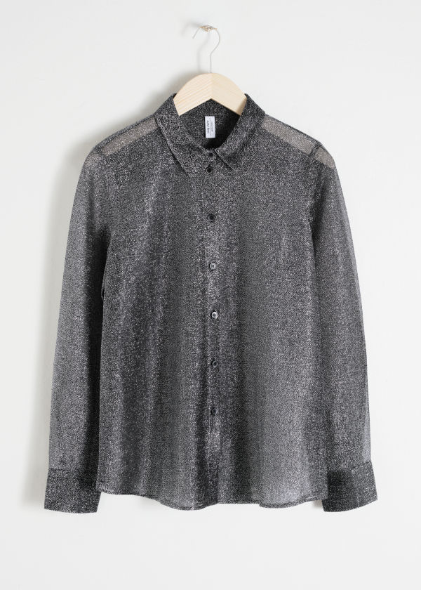 Metallic Button Up Shirt