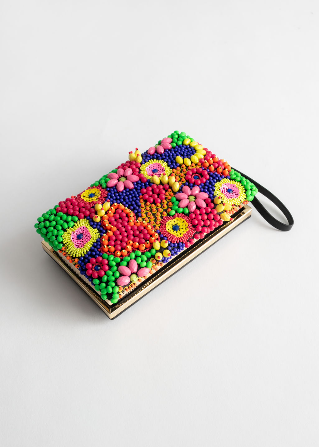 Front image of Stories graphic diamond beaded clutch in yellow