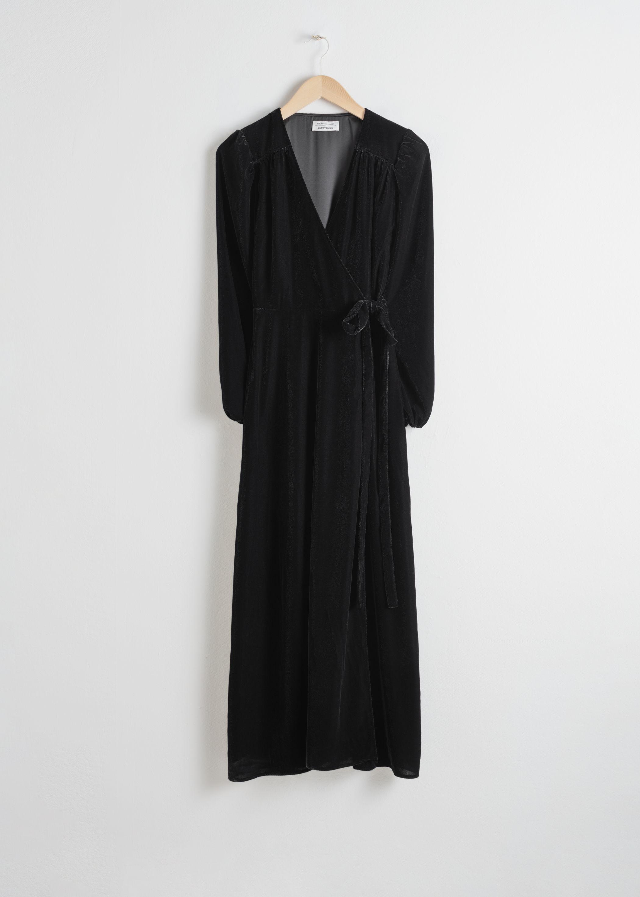 앤 아더 스토리즈 랩 원피스 & OTHER STORIES Velvet Midi Wrap Dress,Black