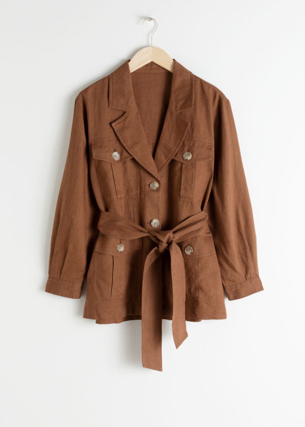 Belted Linen Workwear Jacket