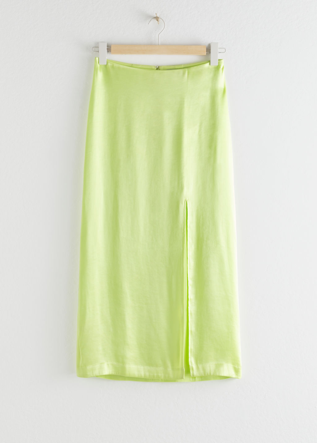 Front image of Stories side slit midi skirt in yellow