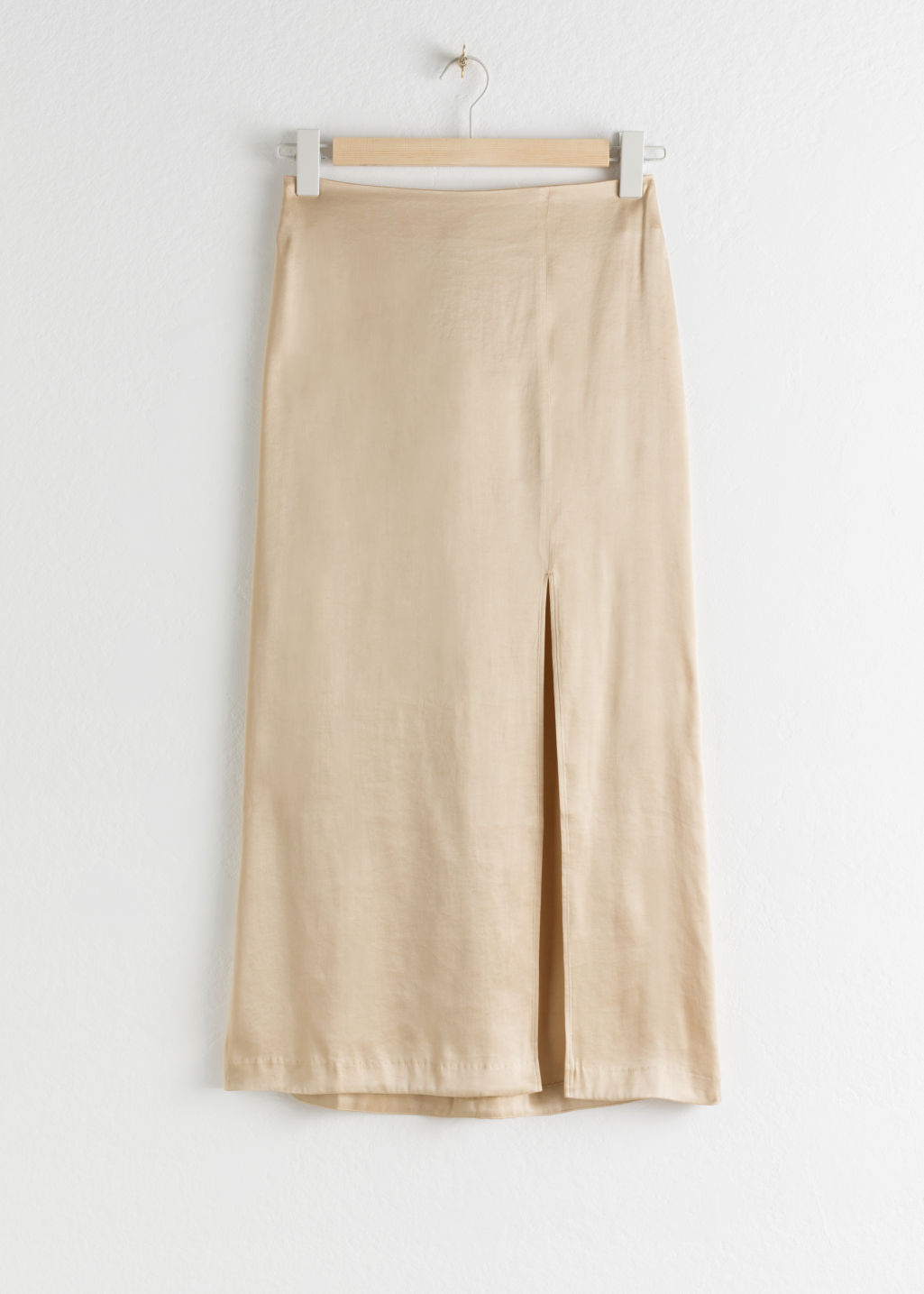 Front image of Stories side slit midi skirt in beige