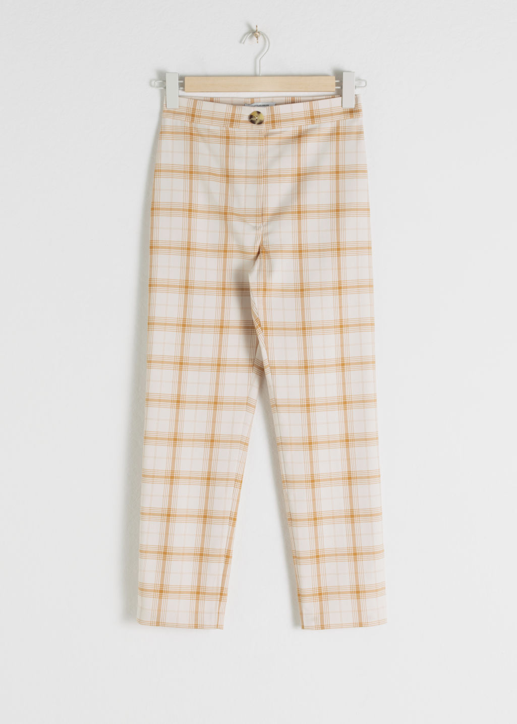 StillLife Front Image of Stories Cropped Cotton Blend Plaid Trousers in Yellow