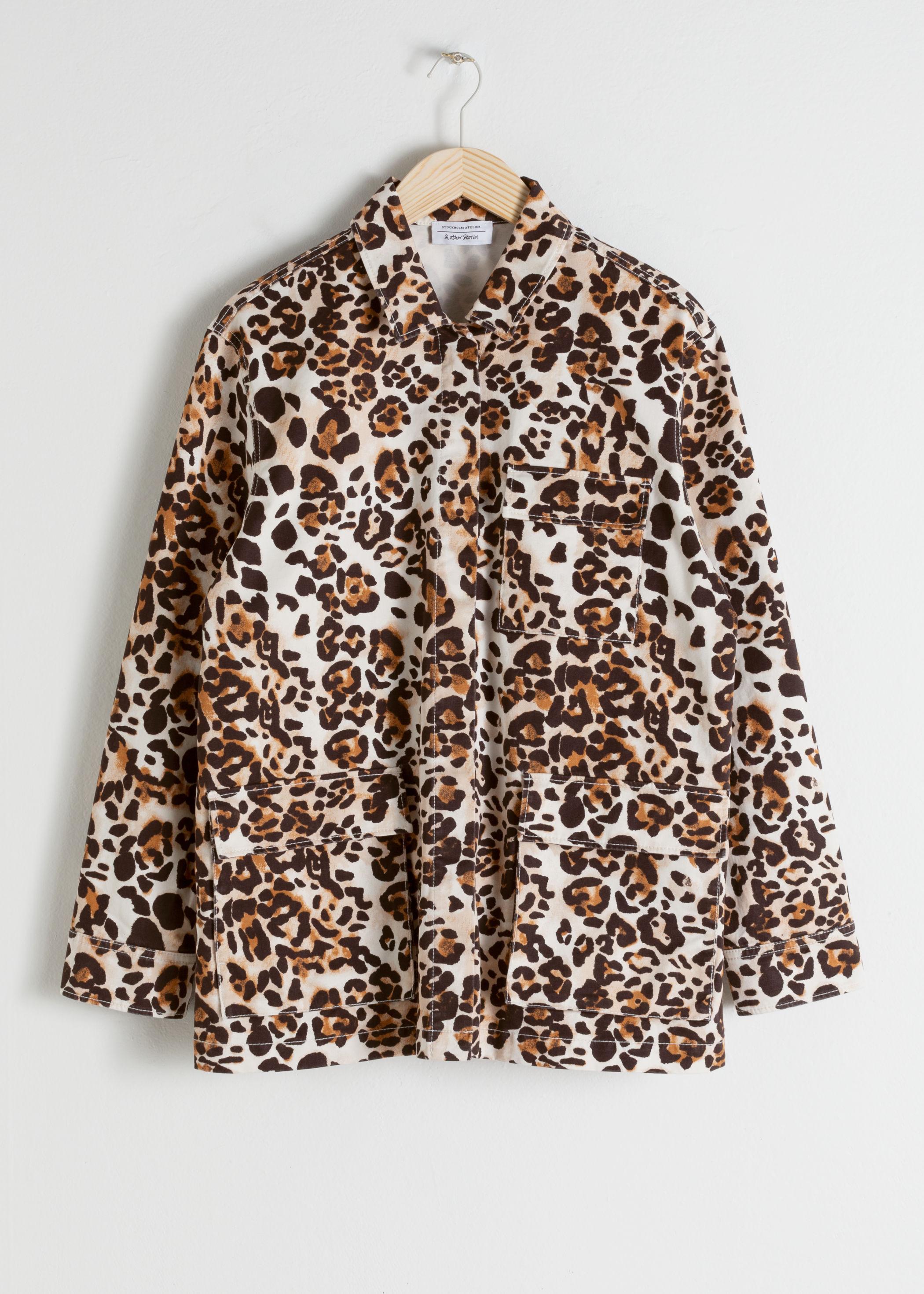 앤 아더 스토리즈 & OTHER STORIES Jaguar Print Cotton Workwear Jacket,Cheetah