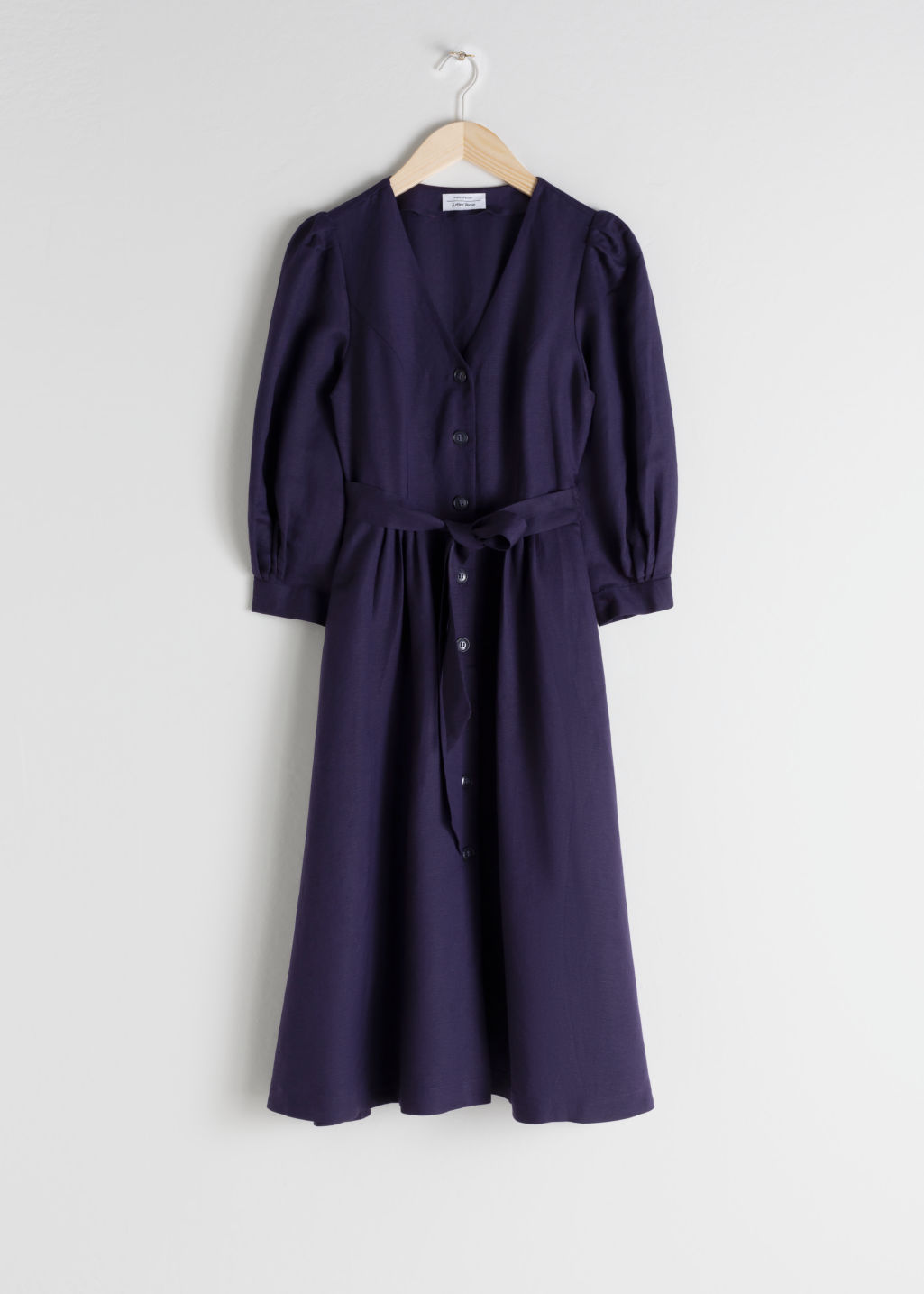 Front image of Stories belted linen blend midi dress in purple