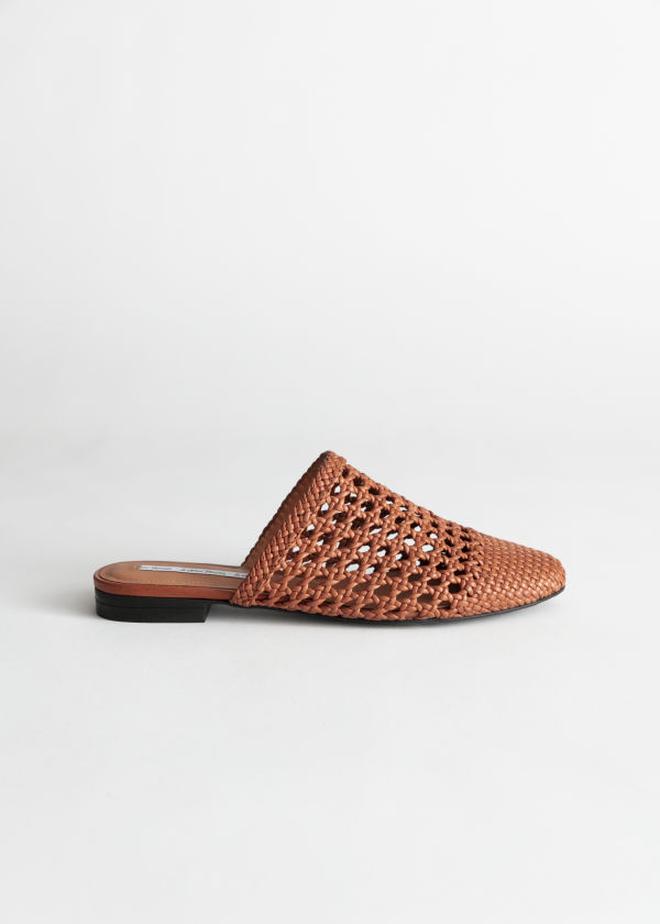 Woven Leather Slip On Flats