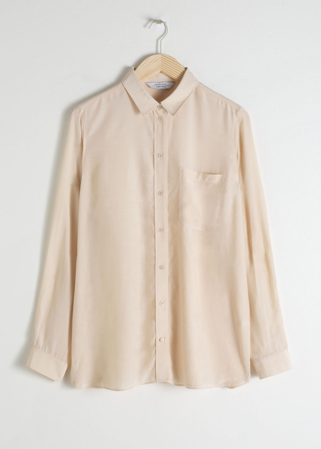 Front image of Stories modal blend button up shirt in beige
