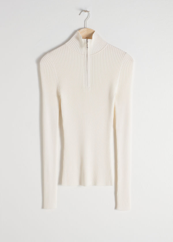 Zippered Rib Knit Turtleneck