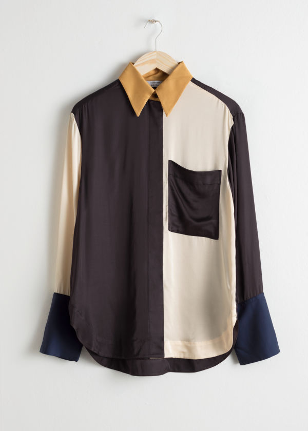 Satin Colourblock Button Up