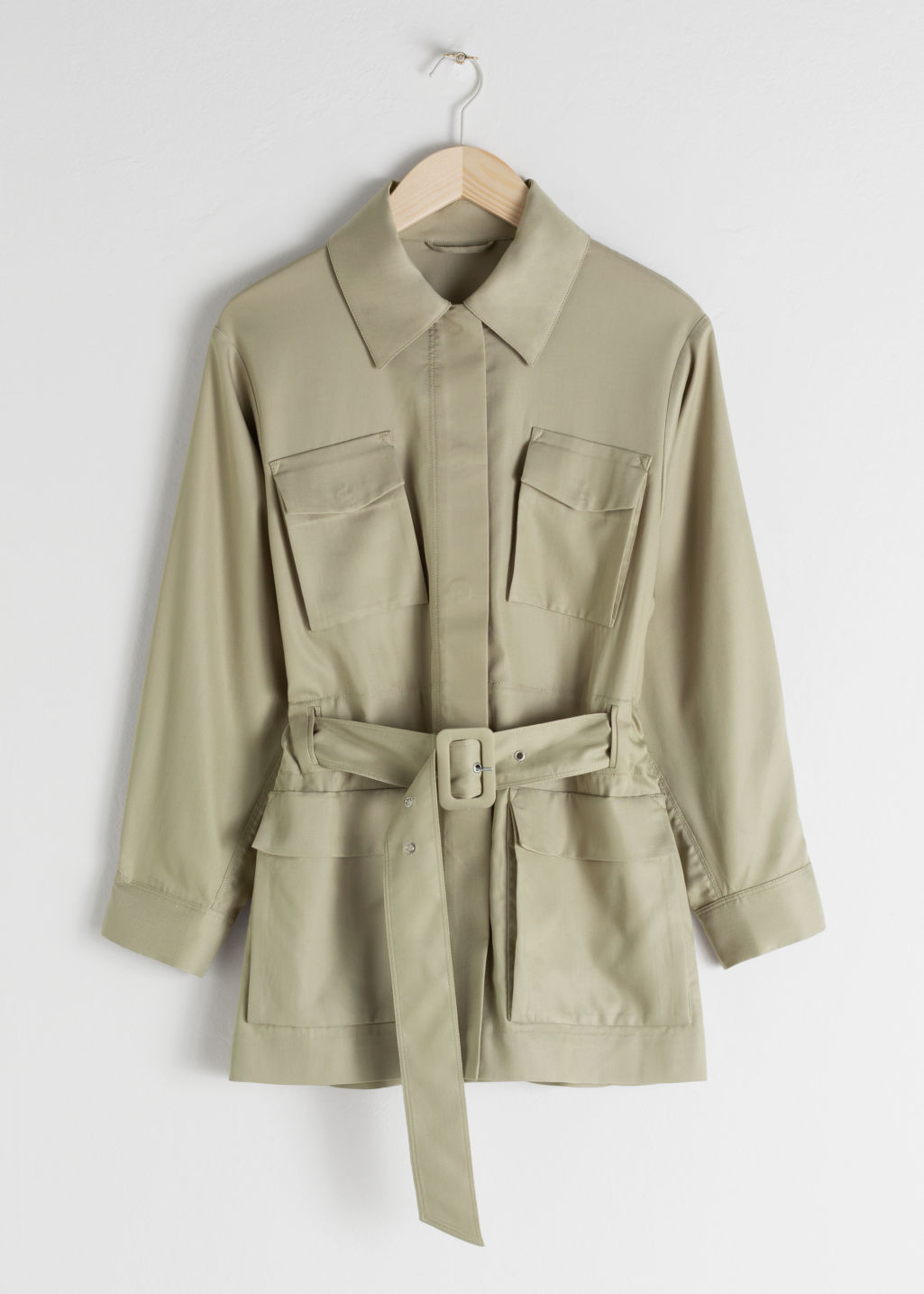 Front image of Stories oversized belted workwear jacket in beige