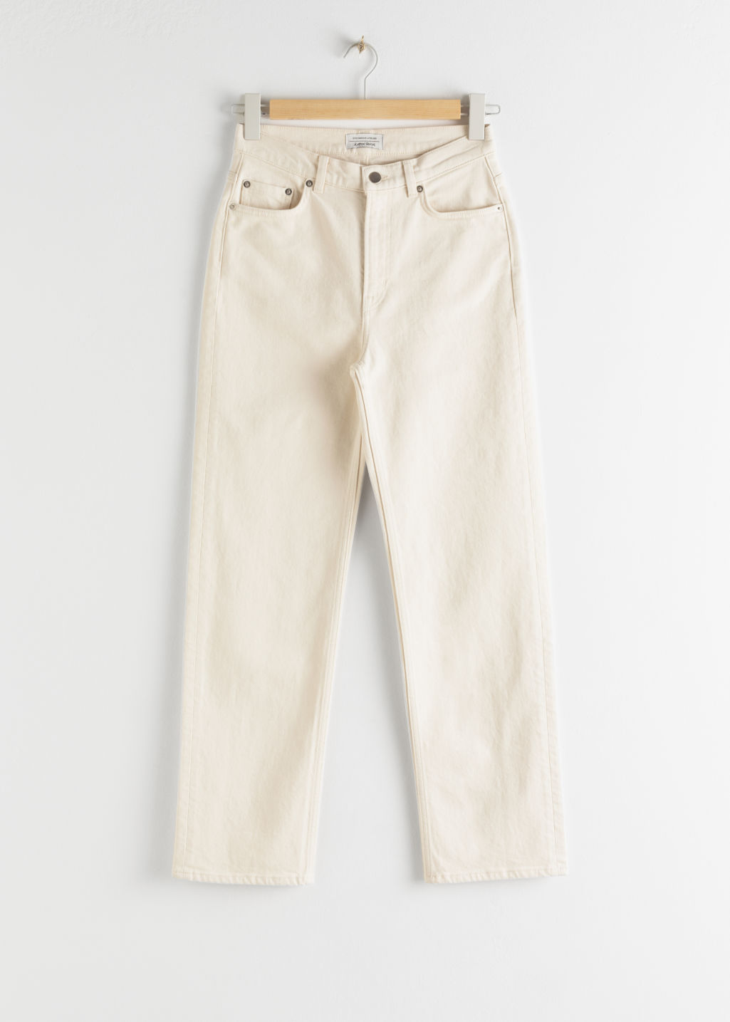 StillLife Front Image of Stories Tapered High Rise Jeans in White