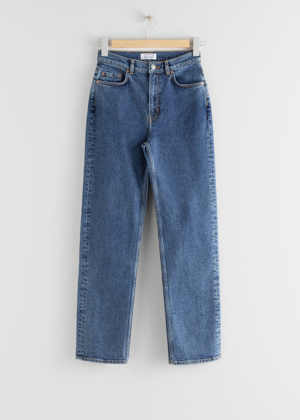 Front image of Stories tapered high rise jeans in blue