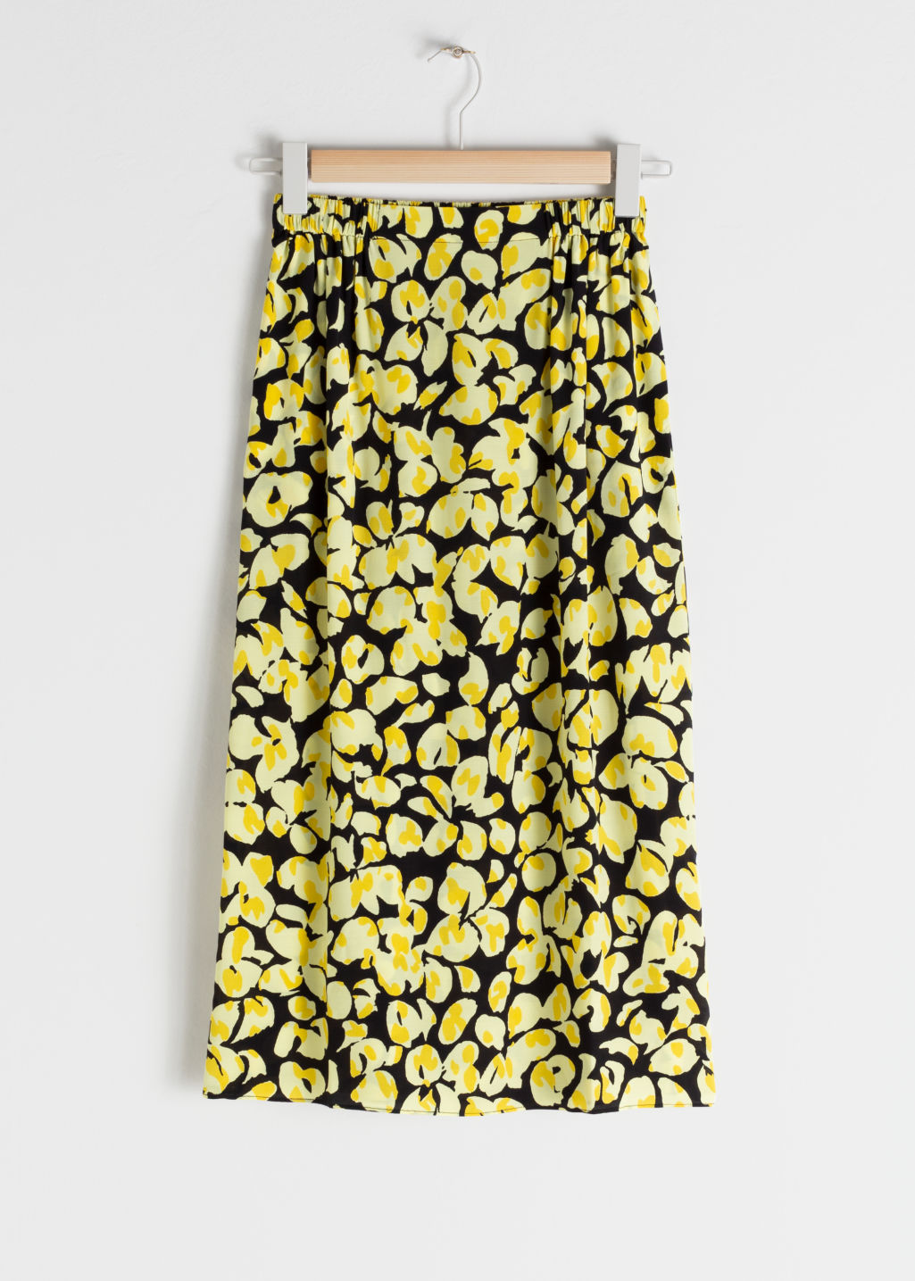 StillLife Front Image of Stories Floral Midi Skirt in Beige