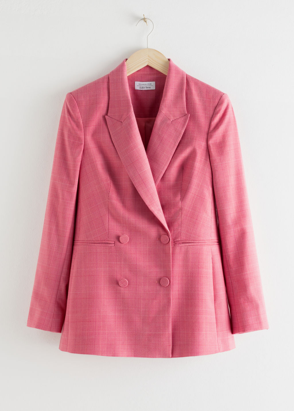 StillLife Front Image of Stories Double Breasted Plaid Blazer in Pink