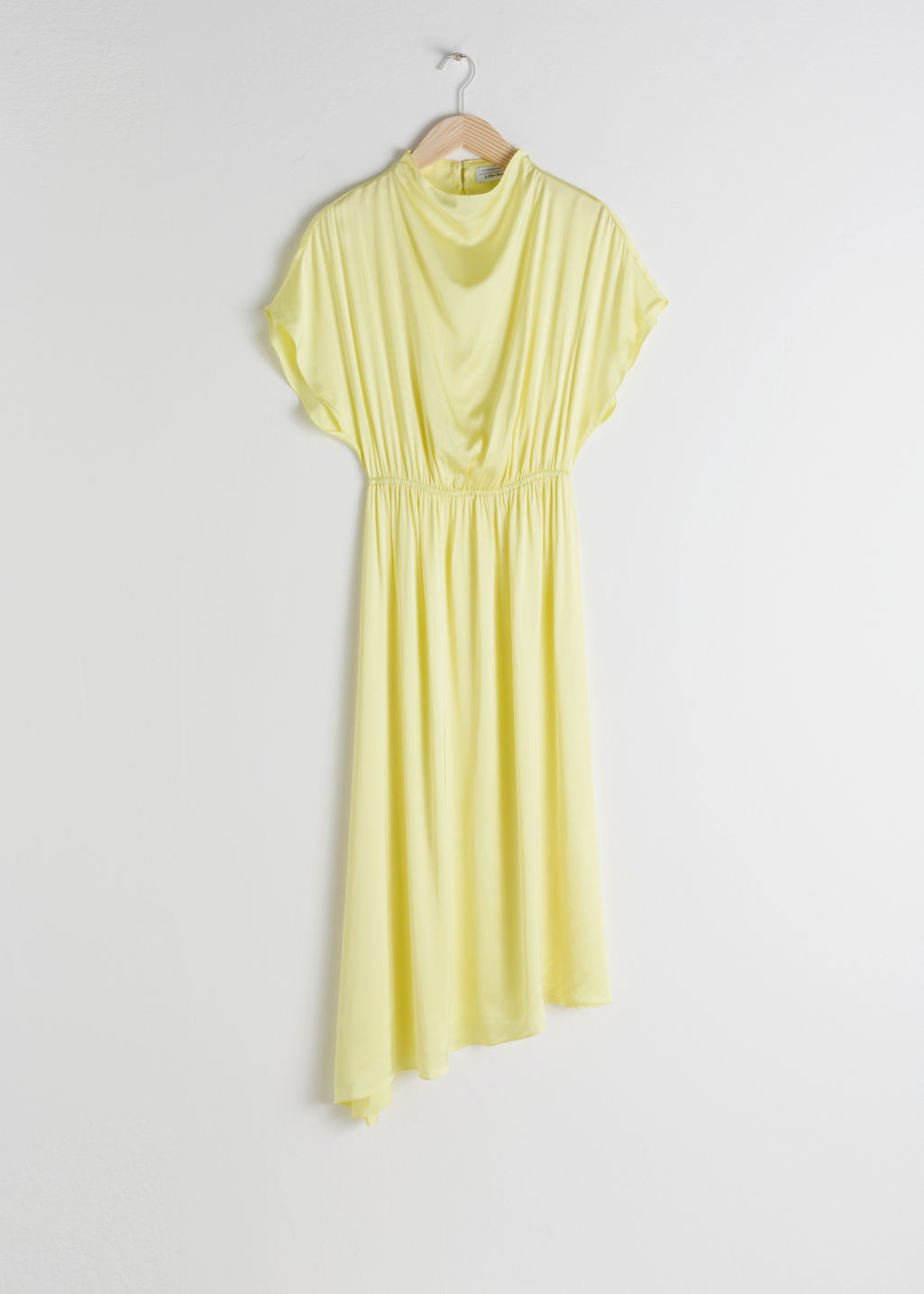 Front image of Stories asymmetric satin midi dress in yellow