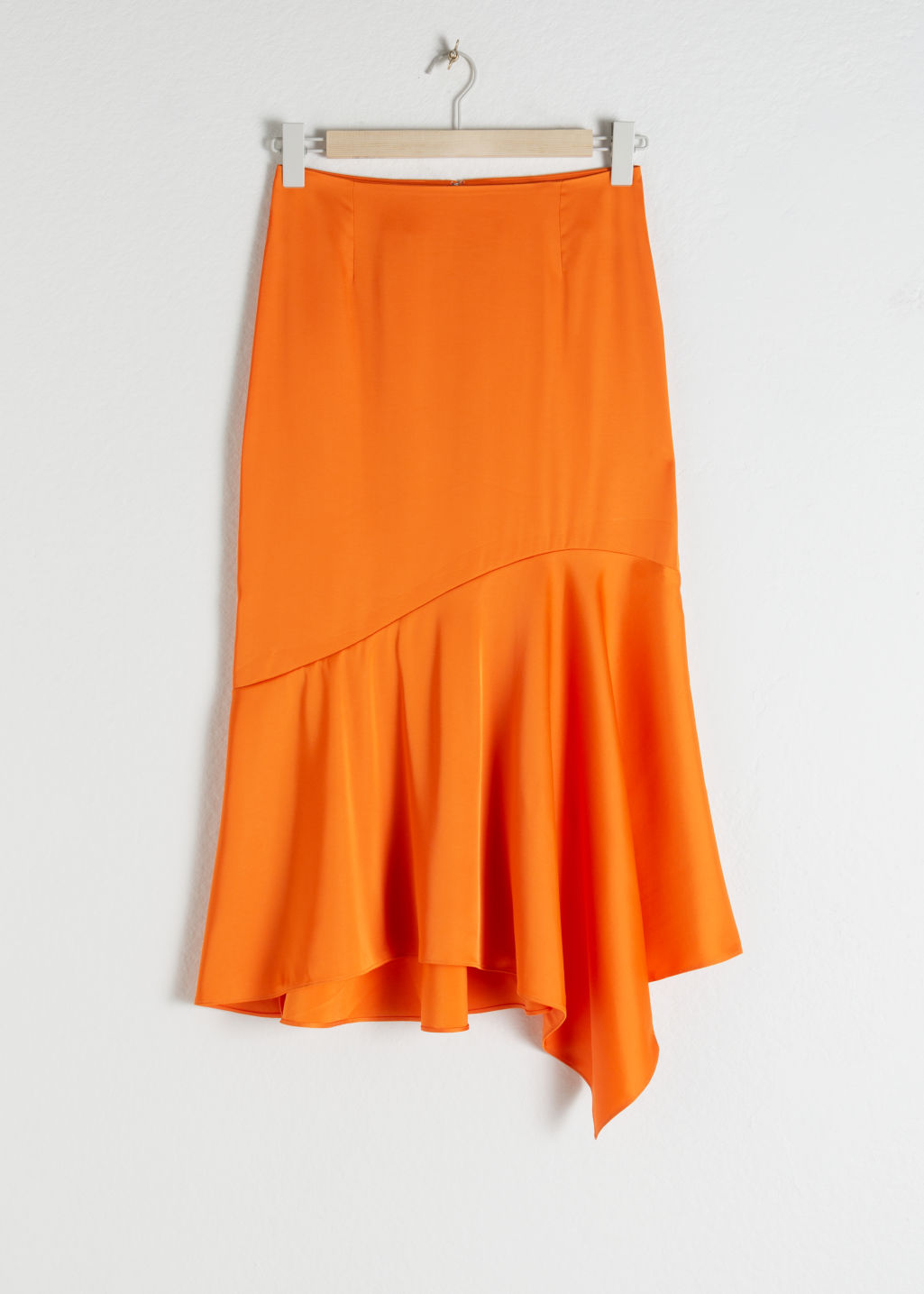 Front image of Stories satin handkerchief midi skirt in orange