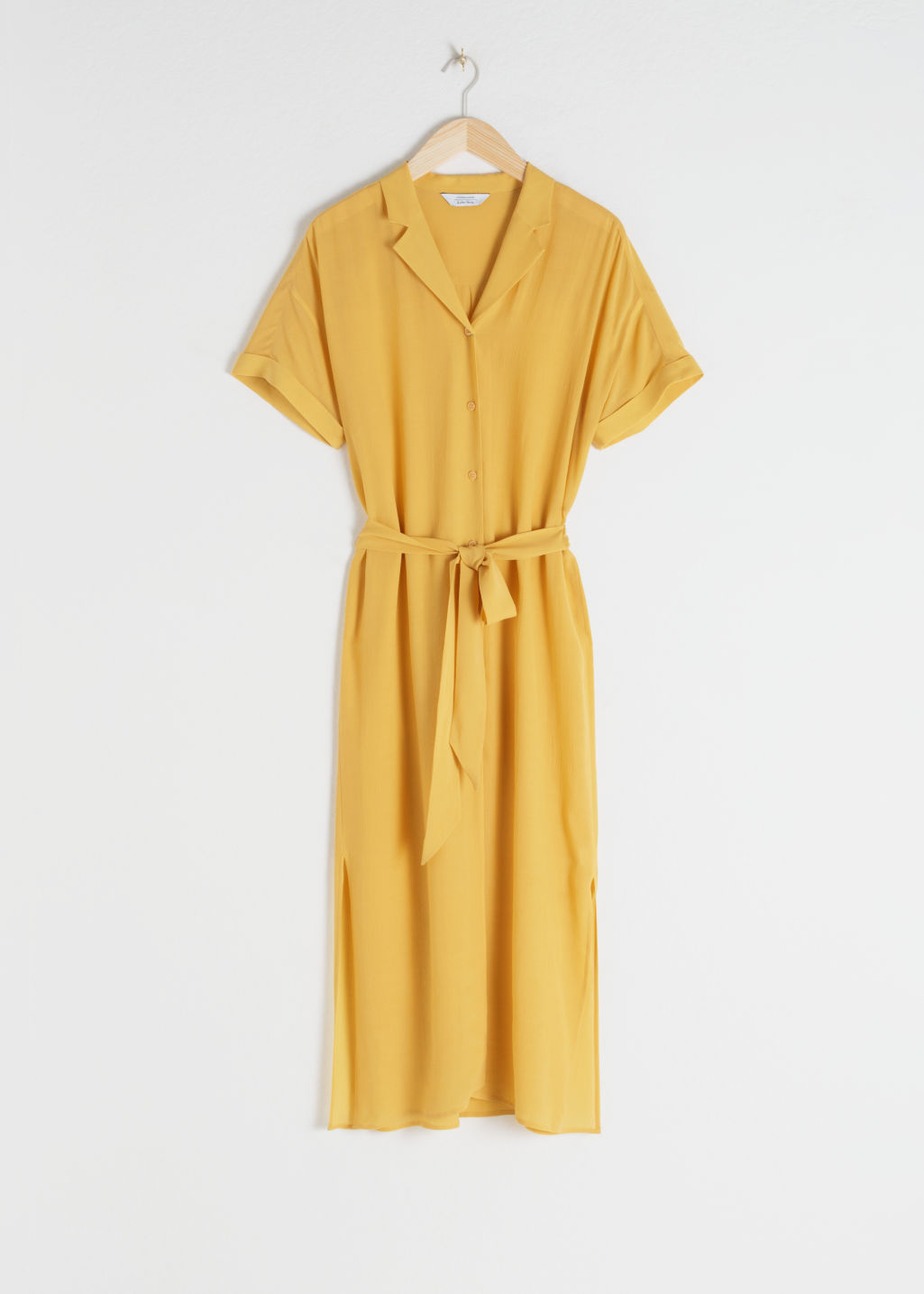 Front image of Stories belted snake print midi dress in yellow