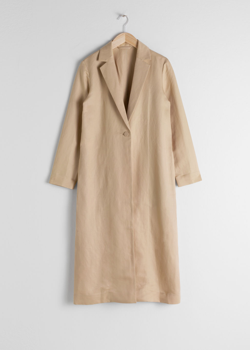 Front image of Stories linen blend duster coat in beige