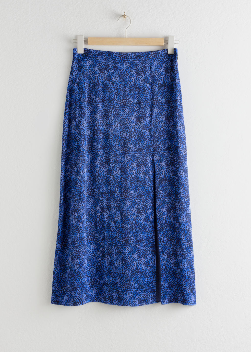 StillLife Front Image of Stories Side Slit Satin Midi Skirt in Blue