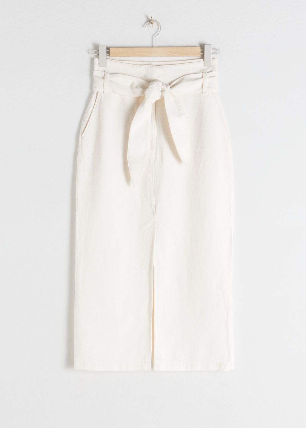 Front image of Stories linen blend paperbag waist midi skirt in white