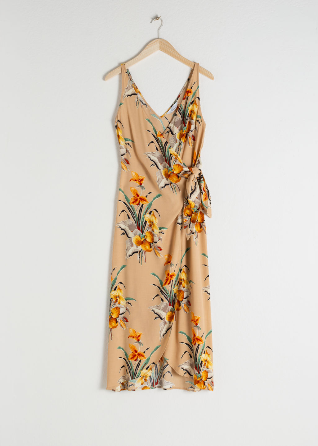 StillLife Front Image of Stories Tropical Print Midi Wrap Dress in Beige