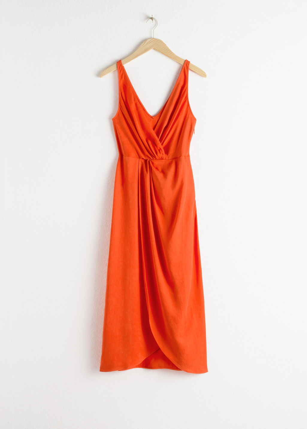 Front image of Stories sleeveless lyocell twist knot midi dress in orange