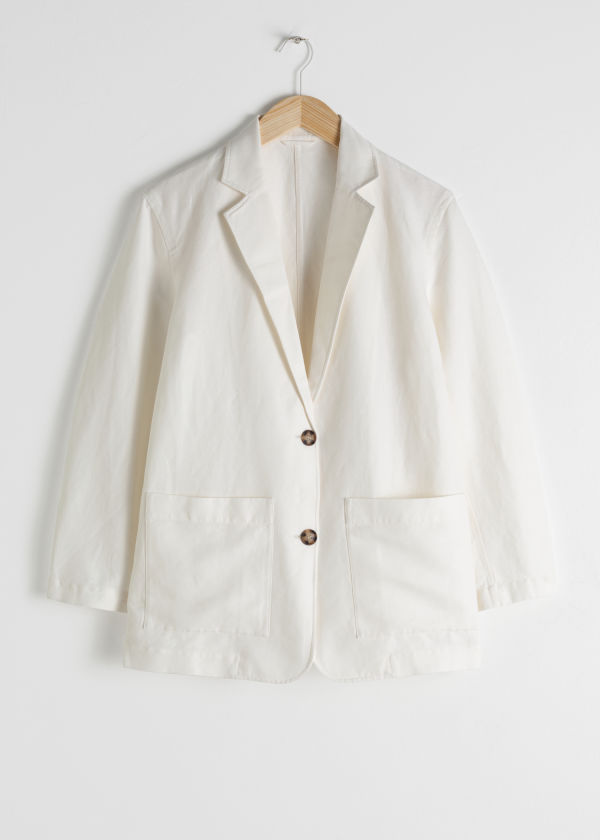 Oversized Tortoise Button Linen Blend Blazer