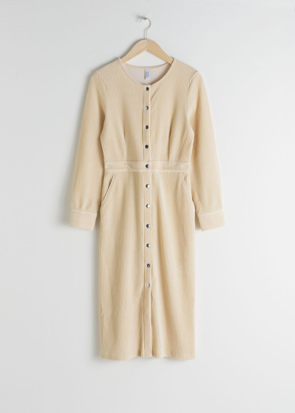 Front image of Stories long sleeve corduroy midi dress in beige