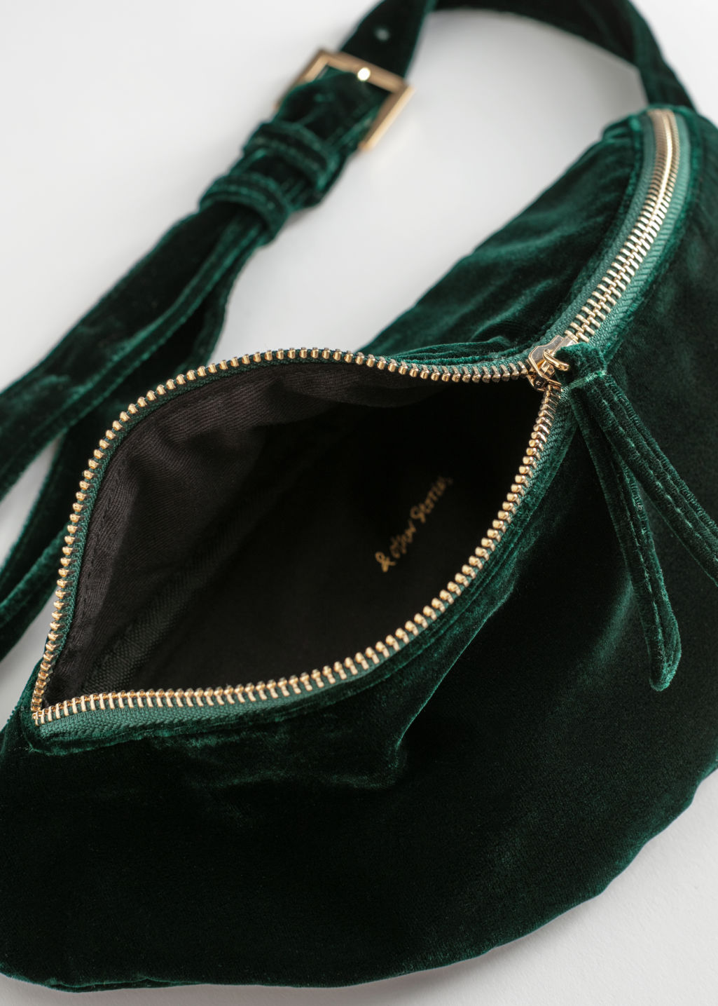 Back image of Stories velvet zippered beltbag  in green