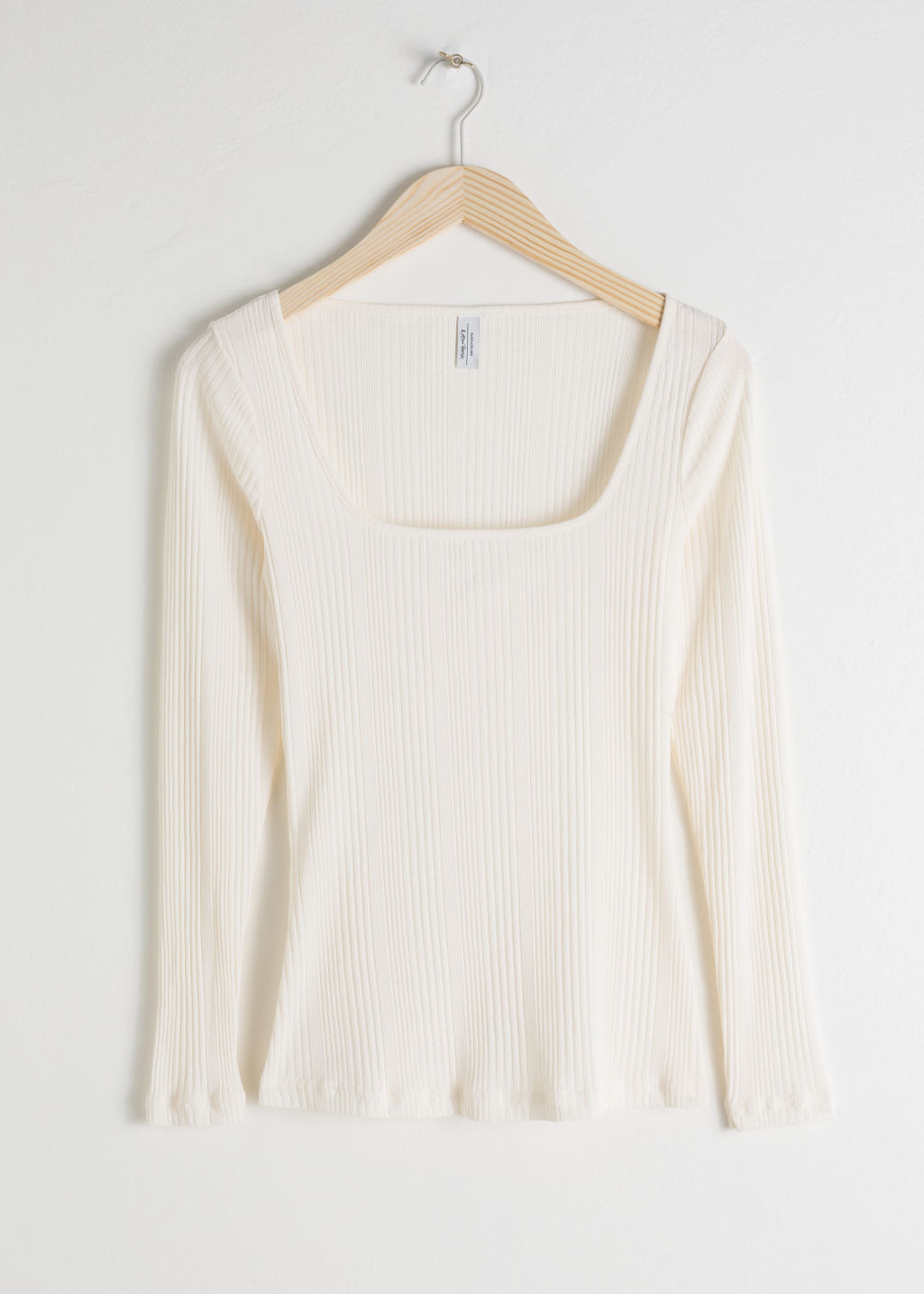 Front image of Stories fitted square neck top in white