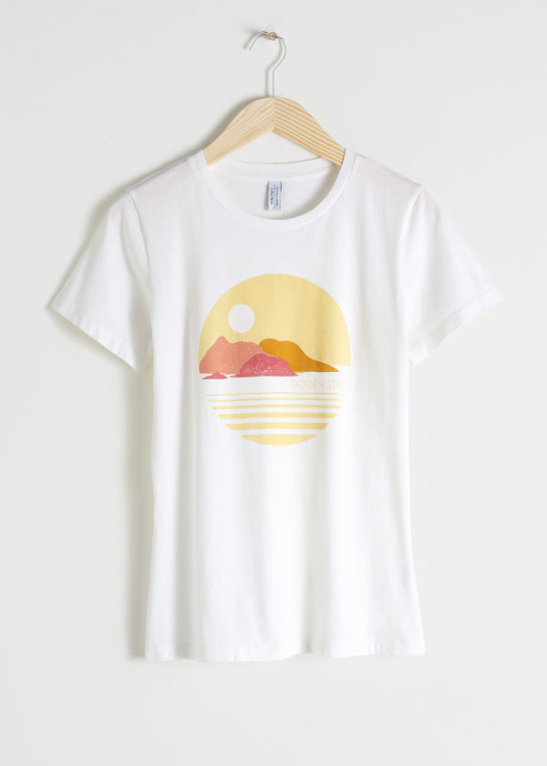 Front image of Stories sunset graphic tee in white